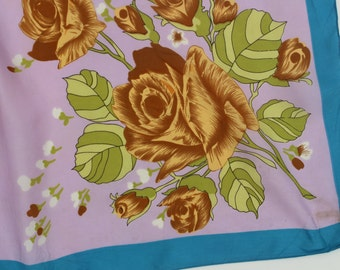 Vintage Kitsch Floral Scarf -lilac pastel blue pattern -flowers - pocket square fabric -large