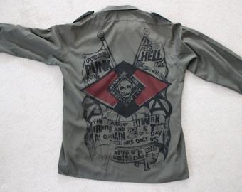 Vintage Military Shirt Khaki Green Longsleeve Anarchist Punk Gang - Army Collar Shirt 1 per cent-skull - Mens Medium Large XL