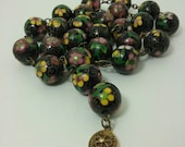 CUSTOM. ON HOLD. Thank you. Cloisonne Necklace, Les Bernard. 15-mm Round Beads, large size beads. Vintage.
