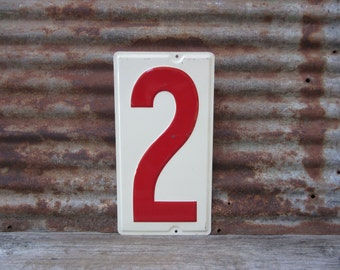 Huge Number 2 Sign Number Two Sign Vintage Metal Number Sign 10x19 Inches Price Sign Gas Station Number White Red Distressed Aged Patina