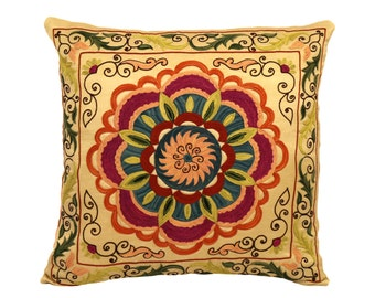 Handmade Suzani Silk Pillow Cover EMP904, Suzani Pillow, Uzbek Suzani, Suzani Throw, Suzani, Decorative pillows, Accent pillows