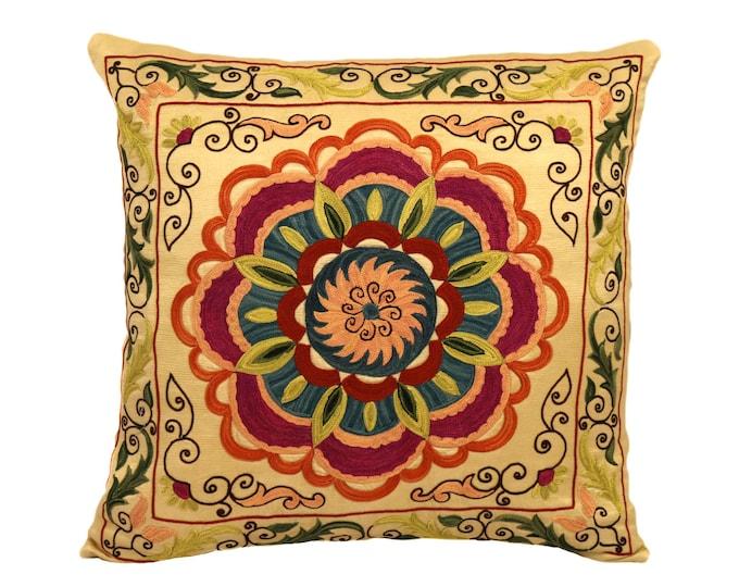 Handmade Suzani Silk Pillow Cover EMP904, Suzani Pillow, Uzbek Suzani, Suzani Throw, Suzani, Decorative pillows, Accent pillows
