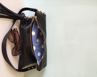 Black leather fold over clutch, leather purse, black evening handbag