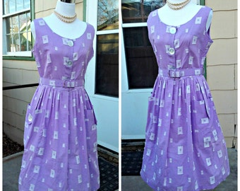 Vintage 1950s Sleeveless Day Dress  Light Purple Square Novelty Print Rockabilly VLV Unworn