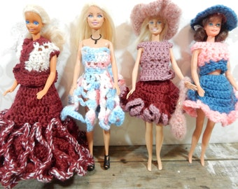 Vintage Barbie Doll crochet and knit dresses, Fashion clothes, 4 outfits, burgundy, pink and blues, with accessories