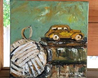 Original Painting, Yellow Car