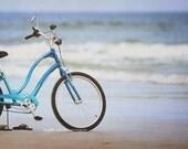 Beach Cruiser Fine Art Photography Blue Bike Bicycle Ocean Waves Sand Tropical Coastal Nautical Livingroom Bedroom Home Decor Wall Art