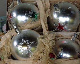 Vintage Hand Blown Tree Poland Ornaments Made in Poland ~ For Kmart  Set of Four Box Tree Ornaments // Tree Trimming //