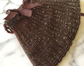 Vintage Beaded Drawstring Purse Brown and Bronze Tones