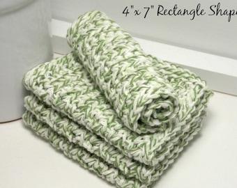 Green Dishcloths, Crochet Dish Cloths, Cotton Dishcloths, Hand Crochet Dishcloths, Set of 4 American Cotton, Eco Friendly Kitchen