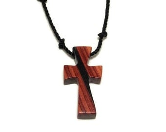 Cross Pendant - Men's Cross Necklace - Ebony & Brazilian Tulipwood Wooden Pendant