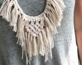 Macrame fringe bib necklace