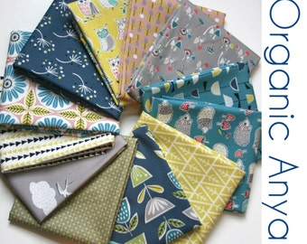 Organic Anya Collection ONE FAT QUARTER Bundle -  Fabric by Monaluna from - Three Yards Total