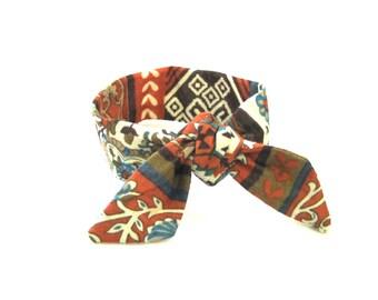 Wire Hair Bun Band Bun Tie Bun Crown Pony Tail Tie Hair Tie Wire Hairband Boho Bun Tie Aztec Print Orange Cream Brown Cute Gift Idea