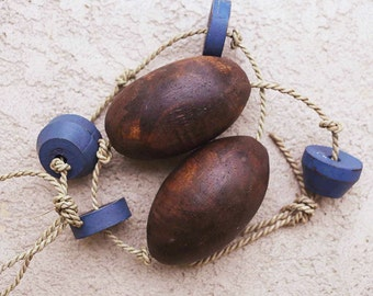 Beach Decor Brown and Blue Lobster Buoy Nautical Wooden by SEASTYLE