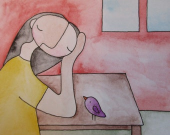 Original Art - Tiny Art - Woman Thinking At Table