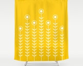 36 colours, Minimalist Flowers Shower Curtain, Scandinavian style, Crocus yellow geometric shower curtains, flower pattern bathroom decor