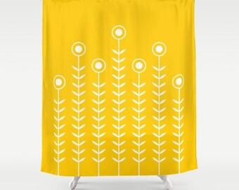 36 colours, Minimalist Flowers Shower Curtain, Scandinavian style, Crocus yellow geometric shower curtains, flower pattern bathroom decor