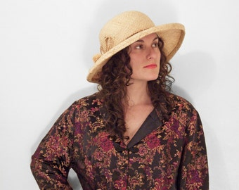 Straw Sun Hat 1990s Liz Claiborne Lightweight Brim Stretch Terry Band