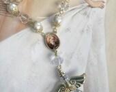 Swarovski Fine Crystal Angel  Rear View Mirror  / Angel Suncatcher  /Saint  Antony  religious gift / Car pink Ornament Accessories