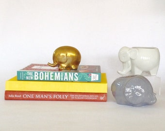 Vintage Trio of Elephants, Pottery and Brass