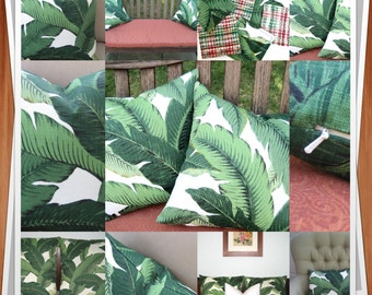 Tropical Green Banana Leaf pillow cover - various sizes -Hollywood Regency - Beverly Hills Hotel