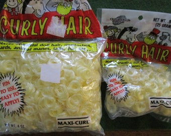 Sunshine Yellow Curly Doll Hair Maxi Curl Vintage 4 oz. Large Package Plus Small Package Blonde One and Only Creations dated 1990