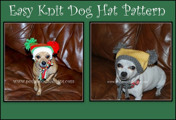Download Knitting Patterns For Dogs : Easy Knit Dog Hat Instant Download Knitting Pattern
