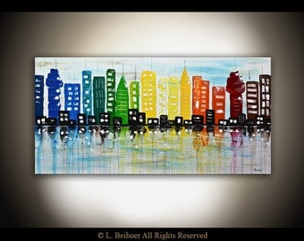 Large abstract city painting original abstract art 24 x 48 modern urban oil painting contemporary abstract MADE TO ORDER by L. Beiboer
