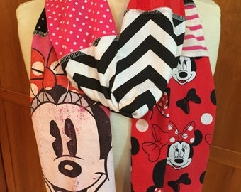 UPCYCLED t-shirt scarf ... Minnie Mouse ... Disney World ... red, black, pink
