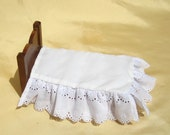 Dollhouse Bedskirt Miniature White Bed Ruffle Dollhouse Twin or Single Bed Skirt 12th Scale Dollhouse Dust Ruffle Small Doll Bedding