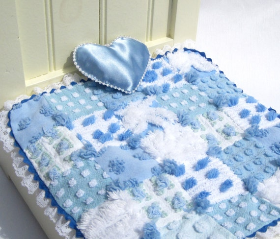 Doll Quilt Small Doll Blanket Blue by HobbymakersDollhouse on Etsy