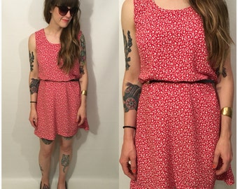 Vintage 90s Red and White Floral Mini Sleeveless Dress Size Medium