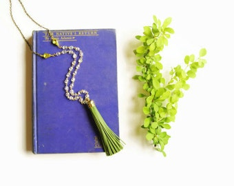 Long Necklaces Leather Tassel Green
