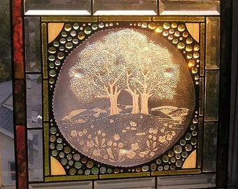 Stained Glass Panel|Glass Art|Vintage Glass Plate|Trees on a Hillside|Art & Collectibles|Panel|OOAK|Handcrafted|Made in USA