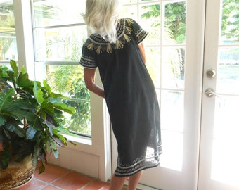 Vintage black gauze dress gold silver embroidery hippie boho ethnic bohemian festival patio dress Indian: small, medium
