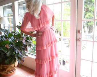 Vintage Miss Elliette California peachy pink chiffon pleated gown tiered skirt flutter collar: large