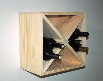 "15"" Square Wall Mount Hanging Wood Wine Rack Kitchen Storage Model"