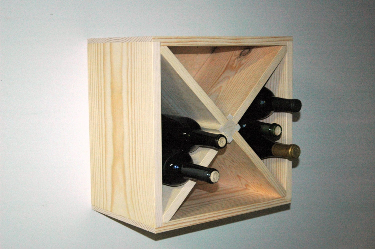 15 Square Wall Mount Hanging Wood Wine Rack Kitchen
