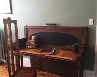 Child's desk and chair Kids desk Homework station Upcycled Piano Repurposed