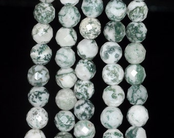 6mm Tree Agate Gemstone Green Faceted Round 6mm Loose Beads 7.5 inch Half Strand (90191832-B66)