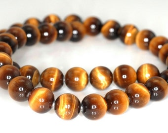 10mm Cognac Tiger Eye Gemstone Grade AA Round Loose Beads 7.5 inch Half Strand (90191855-B67)