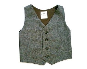 Baby Boy, Toddler Vest, Tweed Vest, Baby Boy Vest, Brown Vest, Boys Brown Vest, Wool Vest, Tweed Waistcoat, Baby Boy Prop, Boy Vest