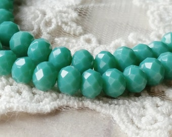 4 x 6 mm 48 Faceted Cut Rondelle Lake Green Color Glass / Crystal / Lampwork Beads (.ma)