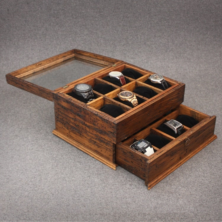 Personalized rustic men 39 s watch box for 16 by ourweddinginvites for Watches box