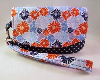 Smartphone wristlet wallet - Iphone 6s Wristlet - Iphone 6s wallet - Smartphone wallet Floral Blue Orange