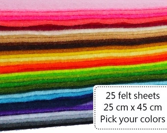 25 felt sheets, acrylic felt, pick your colors, craft felt sheets, 25cm x 45cm