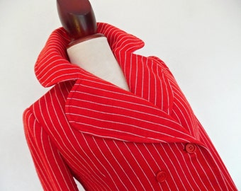 FRANCE . Gangster In Red . M . Fab Quality Pin Striped Mod Jacket Wool Mix 60 Large Collar Double Breasted