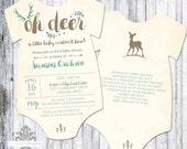 OH Deer Baby Shower Invitation - Onesie Shaped Oh Deer Shower Invitation - Woodland - 5x7 - Set of 25