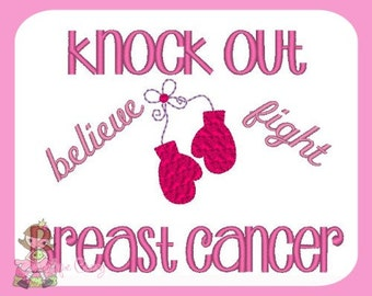 Knock Out Breast Cancer Embroidery design  .